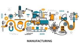 Concepto de proceso de fabricación stock de ilustración