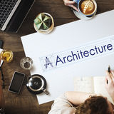 Concepto de Real Estate de las ideas del diseño del edificio de la arquitectura imágenes de archivo libres de regalías