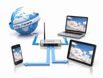 Concepto de red casera. Dispositivos de la sincronización Imágenes de archivo libres de regalías
