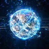 Concepto de red global de la conexión a internet mundo proporcionado por la NASA libre illustration