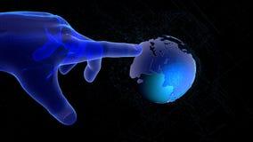 Concepto de red global o de tecnología de comunicación, mano futurista que señala en el globo del wireframe ilustración 3D ilustración del vector