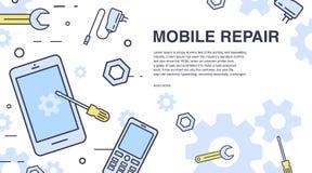 Concepto de reparación del teléfono móvil Bandera horizontal con smartphone y las herramientas mantenga la técnica electrónica Ve Fotografía de archivo