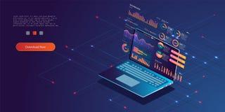 Concepto de RGBTechnology Estadísticas de la base de datos de la actualización ilustración del vector