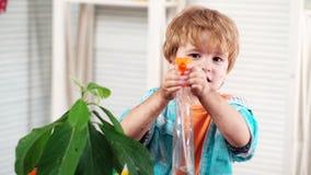 Concepto de riego Poco flor de la primavera de riego del niño Arma de espray de riego del control del hijo Planta de riego a mano