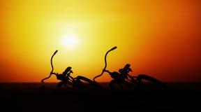 Concepto de romance y amor - empareje las bicicletas del vintage en la puesta del sol Imágenes de archivo libres de regalías