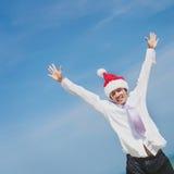 Concepto de Santa Hat Business Travel Vacations de la Navidad Imagen de archivo libre de regalías