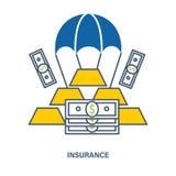 Concepto de seguro de depósito Ejemplo plano del vector Foto de archivo libre de regalías