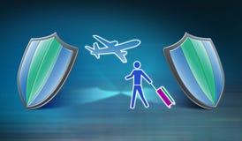 Concepto de seguro del viaje stock de ilustración