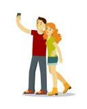 Concepto de Selfie con la gente en estilo plano stock de ilustración