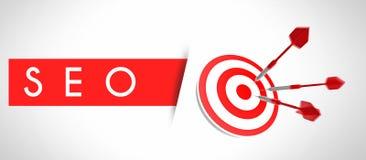 Concepto de SEO, blanco del negocio y éxito Imagenes de archivo