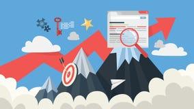 Concepto de SEO Idea de la optimización del Search Engine para la página web stock de ilustración