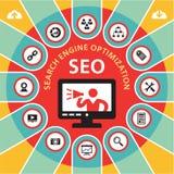 Concepto 4 de SEO (optimización) del Search Engine Infographic Imagen de archivo libre de regalías