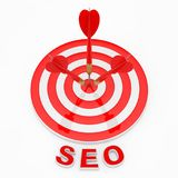 Concepto de SEO SEO Sign cerca de los dardos que golpean la blanco renderin 3D Fotografía de archivo libre de regalías