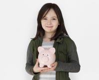 Concepto de Shoot Kid Girl del modelo de la gente del estudio Imágenes de archivo libres de regalías