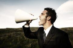 Concepto de Shouting Field Announcement del hombre de negocios Imagen de archivo libre de regalías