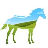 Concepto de silueta del caballo con el texto en campo ilustración del vector