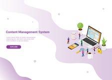 Concepto de sistema de gestión contento de CMS con el ordenador portátil y la página de la página web con la clave segura para la ilustración del vector