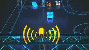 Concepto de sistema de transporte de Autonome, ciudad elegante, Internet de cosas, vehículo al vehículo, vehículo a la infraestru stock de ilustración