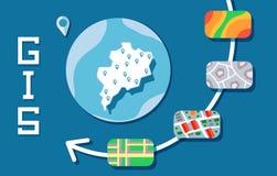 Concepto de software de los SOLDADOS ENROLLADOS EN EL EJÉRCITO, sistema de información geográfica Ilustración del vector libre illustration