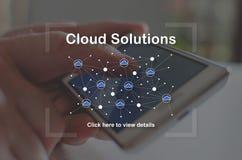 Concepto de soluciones de la nube Fotografía de archivo