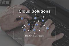 Concepto de soluciones de la nube Fotografía de archivo libre de regalías