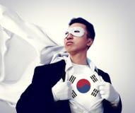 Concepto de South Korea Isolated del hombre de negocios del super héroe Foto de archivo
