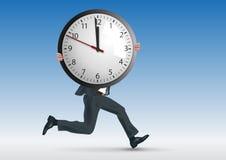 Concepto de tensión en el trabajo, con un funcionamiento del hombre mientras que simbólicamente lleva un reloj stock de ilustración
