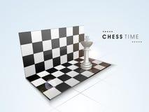 Concepto de tiempo del ajedrez con su tablero y pedazo Fotos de archivo libres de regalías
