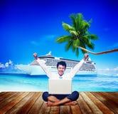 Concepto de trabajo del éxito de Business Travel Beach del hombre de negocios Fotografía de archivo