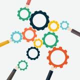 Concepto de trabajo en equipo y de integración con el hombre de negocios que sostiene la cuesta ilustración del vector