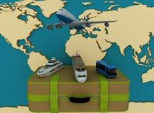 Concepto de transporte para los viajes en un backgraund del mapa Fotografía de archivo libre de regalías