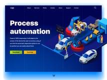 Concepto de una página de aterrizaje para la automatización de proceso en una fábrica del coche stock de ilustración