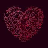 Concepto de Valentine Day Line Icon Heart Fotos de archivo libres de regalías