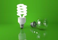 Concepto de ventaja de nuevas tecnologías El brillar intensamente ahorro de energía Fotografía de archivo libre de regalías