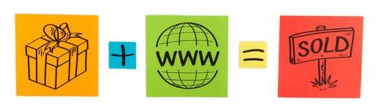 Concepto de ventas de Internet. Hojas del papel coloreado. Fotografía de archivo
