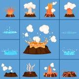 Concepto de volcán activo y de géiser en la acción libre illustration