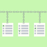 Concepto de votación en línea de Blockchain Fotos de archivo libres de regalías