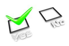 Concepto de votación sí/no Imagen de archivo
