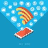 Concepto de zona de Wifi Foto de archivo libre de regalías