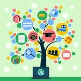 Concepto del árbol de los iconos del uso de Internet Foto de archivo libre de regalías
