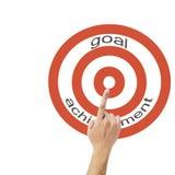 Concepto del éxito de asunto El mostrar al logro de la meta en el fondo blanco Imagenes de archivo