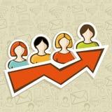 Concepto del éxito de la campaña de marketing del Web