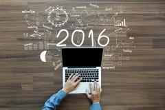 concepto del éxito empresarial del Año Nuevo 2016 ilustración del vector