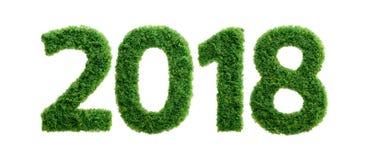 concepto del año de la ecología de la hierba verde 2018 aislado Fotos de archivo libres de regalías