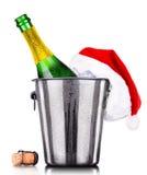 Concepto del Año Nuevo con el champán aislado Imagen de archivo