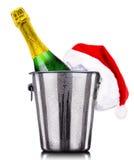 Concepto del Año Nuevo con el champán aislado Fotos de archivo