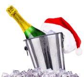 Concepto del Año Nuevo con el champán aislado Imagen de archivo libre de regalías