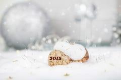 Concepto del Año Nuevo con el corcho y la nieve del champán Imagenes de archivo