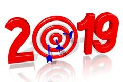 Concepto del Año Nuevo 2019 - dardos stock de ilustración