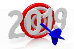 Concepto del Año Nuevo 2019 - dardos ilustración del vector
